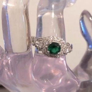 Fragrant Jewels Emerald and Cubic Zirconia Ring